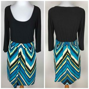 NWOT M60 Miss Sixty Chevron Colorful Dress